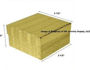 Wholesale 200 Gold Cotton Fill Jewelry Packaging Gift Boxes 3 1 2 X 3 1 2 X 2