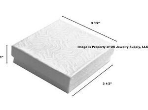 100 White Swirl Cotton Filled Jewelry Packaging Gift Boxes 3 1 2 X 3 1 2 X 1