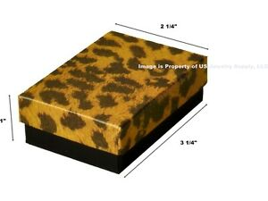200 Leopard Print Cotton Fill Jewelry Packaging Gift Boxes 3 1 4 X 2 1 4 X 1