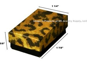 200 Small Leopard Print Cotton Filled Jewelry Gift Boxes 1 7 8 X 1 1 4 X 5 8