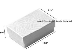 200 Small White Swirl Cotton Filled Jewelry Gift Boxes 1 7 8 X 1 1 4 X 5 8