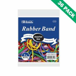 Assorted Rubber Bands Bazic Rubber Band Variety Pack Mixed Sizes 36 Units