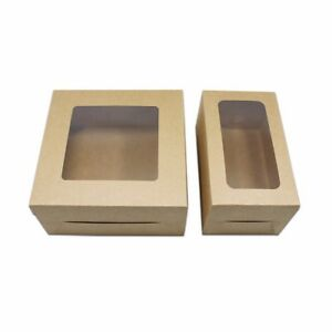 White Brown Kraft Paper Box With Window Folding Reusable Gift Favor Pack Boxes