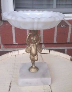 Vintage Cherub Style Brass Marble Cast Stand Plant Or Candle Base