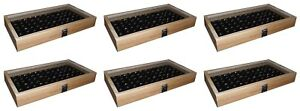 6 Natural Wood Glass Top Lid Black 72 Ring Jewelry Display Storage Box Cases