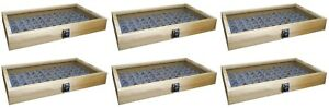 6 Natural Wood Glass Top Lid Grey 72 Ring Jewelry Display Storage Box Cases
