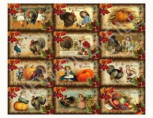 12 Thanksgiving Primitive Postcard Hang Tags Scrapbooking Paper Crafts 115
