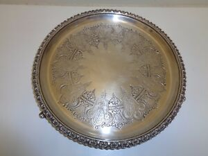 English Antique Vintage Silverplate 12 Round Tray Hallmarked
