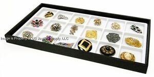 12 Black Stackable Trays With White 18 Space Jewelry Pen Pocket Knife Display