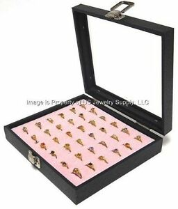 2 Wholesale Glass Top Lid Pink 36 Ring Display Portable Sales Storage Box Cases