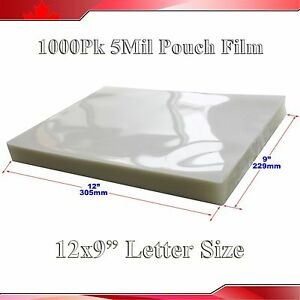 Crysta Clear Letter Size Laminating Pouch Film 1 000pk 5mil 9x12 Thermal Hot