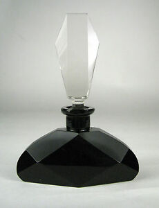 Perfume Bottle Art Deco Czechoslovakia Glass Signed Dauber Empty Black Opaque