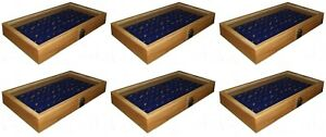 6 Natural Wood Glass Top Lid Blue 72 Ring Jewelry Display Storage Box Cases