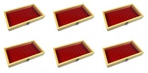 6 Natural Wood Glass Top Lid Red 10 Slot Jewelry Pen Pocket Knife Display Cases