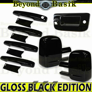 Silverado Sierra Crew 2007 2013 Gloss Black Door Handle Covers Mirrort Tailgatec