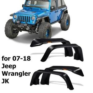 For 07 18 Jeep Wrangler Jk Flat Style Textured Front Rear Fender Flares