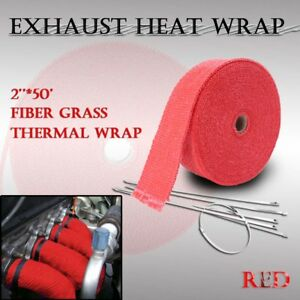 2 50ft 15m Roll Red Exhaust Header Fiberglass Heat Wrap Tape 6 Zip Ties