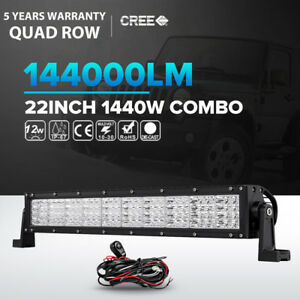 Quad Row 22inch 1440w Led Light Bar Flood Spot Offroad Jeep Truck Atv Suv 23 24