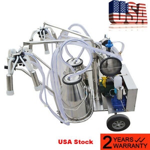 Electric Vacuum Pump Milking Machine For Farm Cows Double Tank usa Warehouse