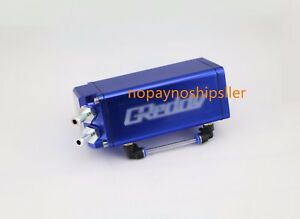 Blue Square Aluminum Engine Oil Catch Reservoir Breather Tank Can Indicator