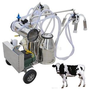 Double Tank Milker Electric Adjustable Vacuum Pump Milking Machine For Farm Cows
