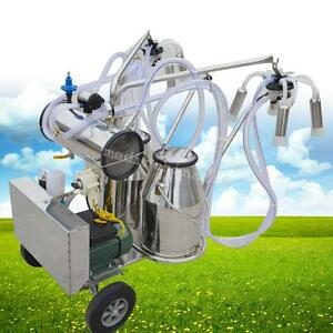 Double Tank Milker Electric Adjustable Vacuum Pump Milking Machine For Cows