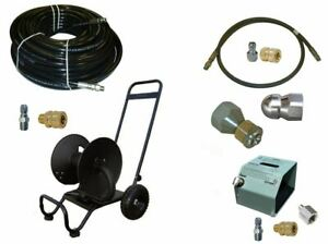 Sewer Jetter Kit Hd Foot Valve 150 X 3 8 Hose Reel And Nozzles