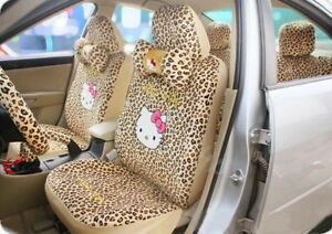 12 Pcs set Cute Hello Kitty Car Seat Cover Leopard Print Accessories Interior