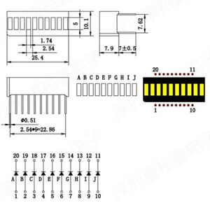 5pcs Led Yellow Amber Bar Graph Display 10 Segments Led Displays 10 Bargraph