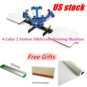 Us 4 Color 2 Station Silkscreen Printing Machine 4 2 Press Diy T shirt Printing