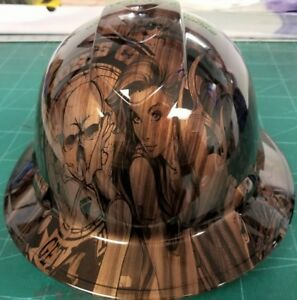 Full Brim Hard Hat Custom Hydro Dipped New Burnished Wood Double Take