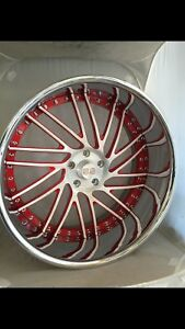 22 Inch Ss 3 Piece Wheels Staggered Brushed Center Chrome Outer