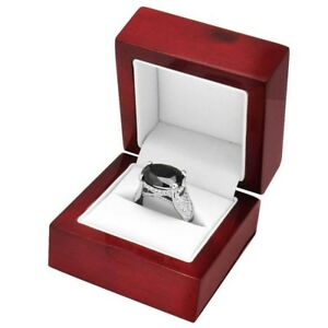 6 Elegant Cherry Wood Ring Jewelry Display Gift Boxes