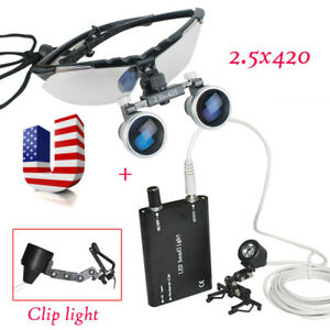 Dental Surgical Binocular Loupes 2 5x 420mm Loupe Led Head Light Lamp With Clip