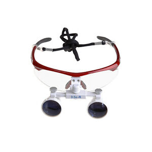 Red Dental Surgical Medical Binocular Loupes 3 5x 420mm Optical Glass Loupes M k