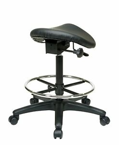 Tall Saddle Stool Black Medical Dental Office Chair Ergonomic Adjustable Salon