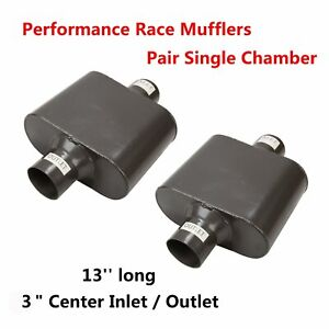 Pair Single Chamber 3 Center Inlet Outlet Performance Race Mufflers