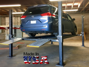Usa Made Four Post Parking Storage Car Lift Stdga 9000xlt W 9000lb Capacity