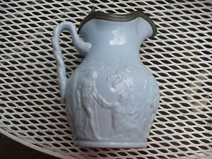 19th Century Blue Syrup Pitcher Juice Jug W Pewter Lid Raised Roman Scenery