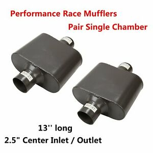 Pair Of Universal 2 5 Inlet Single Chamber Performance Race 2pc Muffler Exhaust