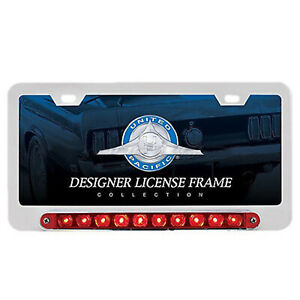 License Plate Frame W 10 Red Led 9 Flush Mount Running Turn Signal Tail Light