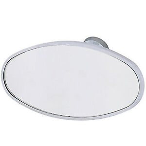 Interior Vintage Oval Chrome Rear View Glass Windshield Mirror W Glue On Mount
