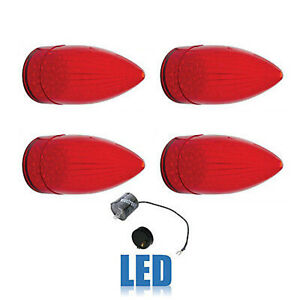 59 1959 Cadillac Car Led Rear Tail Brake Light Lamp Lenses Flasher Set Of 4