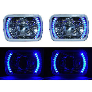 7x6 Blue Led Halo Projector Halogen Crystal Headlights Angel Eye Light H4 Bulbs