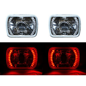 7x6 Red Led Halo Projector Halogen Crystal Headlights Angel Eye Light H4 Bulbs