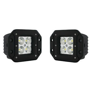 3 Led Square Pod Flush Mount Flood Light Boat Truck Grill Bumper Off Road Pair