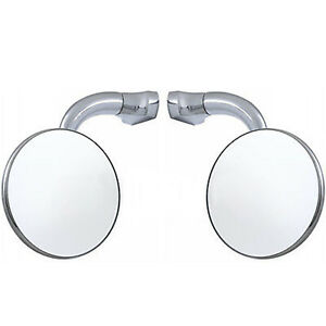 3 Chrome Curved Arm Peep Side Door Glass Mirror Outside Rear View Hot Rod Pair