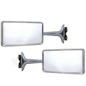 Rectangle Long Arm Peep Glass Mirror Outside Side Rear View Door Hot Rod Pair