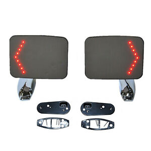 Truck Square Rectangle Chrome Outside Rearview Led Turn Signal Door Mirrors Pair