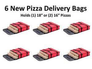 6 pack 18 X 18 X 5 Red Nylon Insulated Pizza Delivery Bags